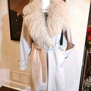 BURBERRY Ivory 100% cashmere 3/4 length coat